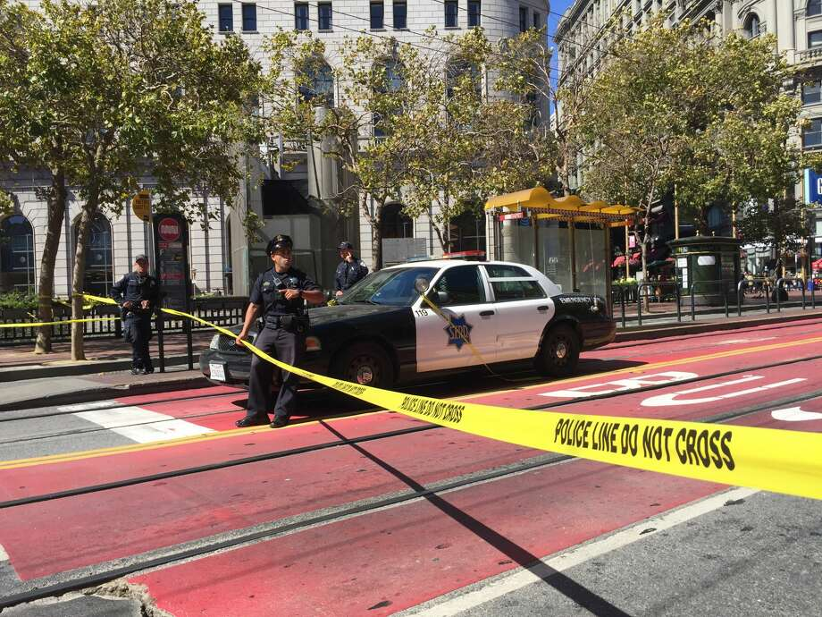 BART and Muni trains are bypassing Powell Street station while police investigate a suspicious package, and Market Street between Fourth and Fifth streets has been closed. Photo: Brandon Mercer/SFGATE