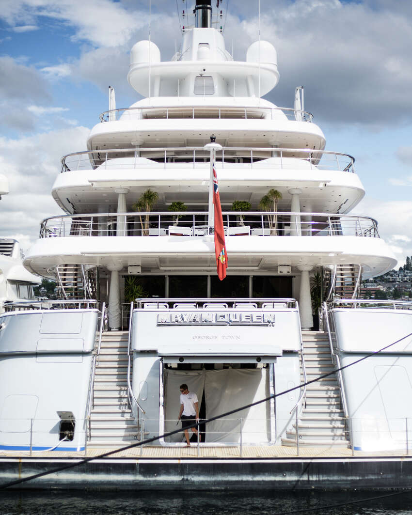 The Mayan Queen IV sits docked in Lake Union on June 1, 2017. The 305-foot long mega yacht belongs to Mexican mining billionaire Alberto Bailleres of Mexico City.