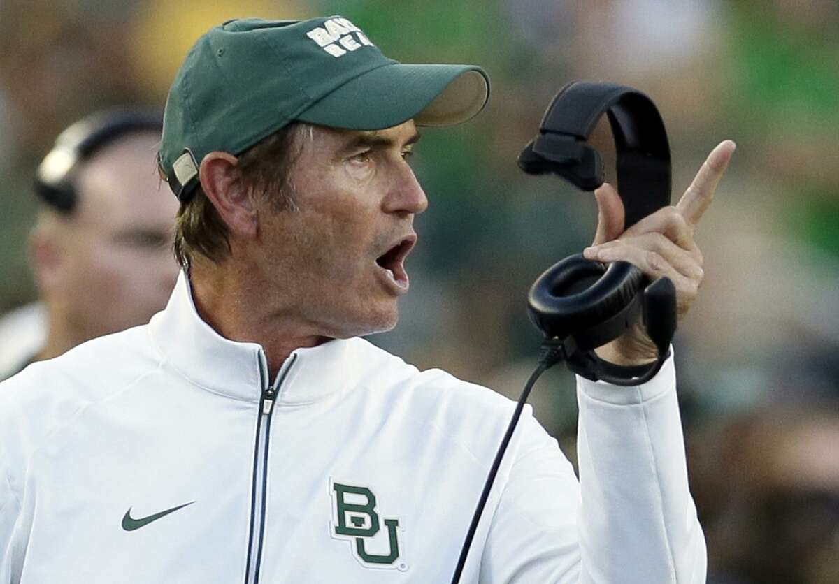 Baylor coach Art Briles yells from the sideline during the first half of an NCAA college football game against Lamar in Waco on Sept. 12, 2015.