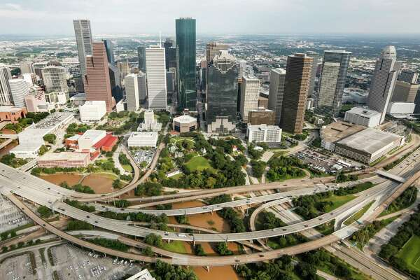 Waters levels of Buffalo Bayou have receded near downtown in the aftermath of Tropical Storm Harvey on Wednesday, Aug. 30, 2017, in Houston.