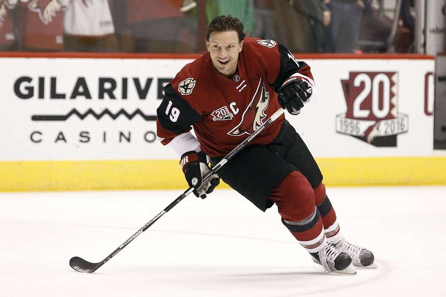 FILE - In this Dec. 27, 2016, file photo, Arizona Coyotes' Shane Doan skates during pre-game warm up before an NHL hockey game against the Dallas Stars, in Glendale, Ariz. Doan is retiring after 21 seasons with the same franchise. Doan announced his retirement in a letter to Coyotes fans published in The Arizona Republic. The 40-year-old Doan is the franchise's all-time leader in nearly every category, finishing his career with 402 goals and 570 assists in 1,540 games. (AP Photo/Ralph Freso, File) Photo: Ralph Freso, Associated Press