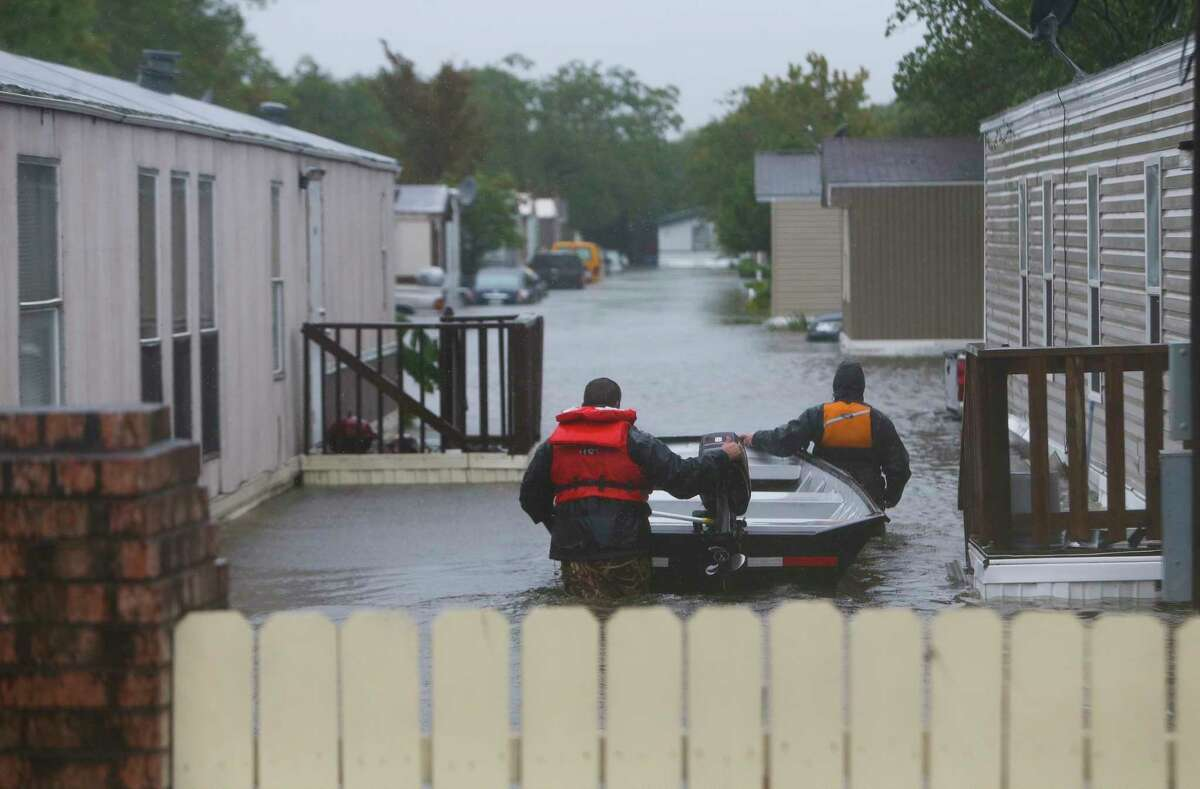 A trailer park is searched for evacuees along Telephone Rd., Tuesday, Aug. 29, 2017, in Houston. (Mark Mulligan / Houston Chronicle)