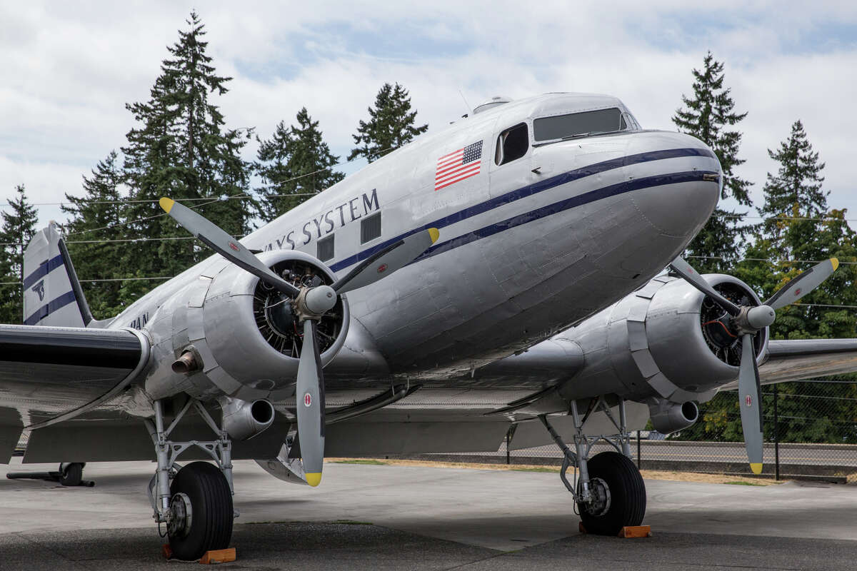Historic Flight Foundation's PAA Douglas DC-3 seen at a media preview of Vintage Aircraft Weekend at Paine Field on Wednesday, Aug. 30, 2017.