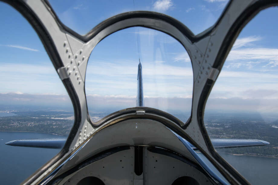 A view out of the back of Historic Flight Foundation's North American AT-6 Texan during a media preview of Vintage Aircraft Weekend at Paine Field on Wednesday, Aug. 30, 2017. Photo: GRANT HINDSLEY, SEATTLEPI.COM / SEATTLEPI.COM
