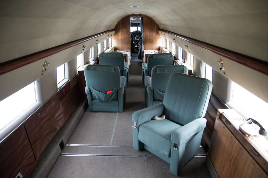The 1950's luxurious interior of Historic Flight Foundation's PAA Douglas DC-3 seen at a media preview of Vintage Aircraft Weekend at Paine Field on Wednesday, Aug. 30, 2017. The former specialized war plane was transformed into a transport for executives of Johnson & Johnson. Photo: GRANT HINDSLEY, SEATTLEPI.COM / SEATTLEPI.COM