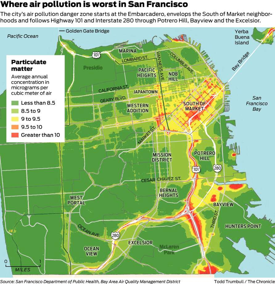 map shows which sf neighborhoods are hit hardest by air pollution  - map shows which sf neighborhoods are hit hardest by air pollution