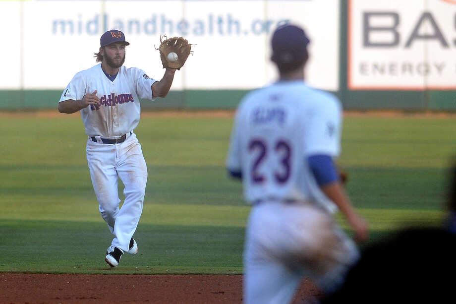 RockHounds second baseman Max Schrock works a play against San Antonio on Aug. 30, 2017, at Security Bank Ballpark.  James Durbin/Reporter-Telegram Photo: James Durbin