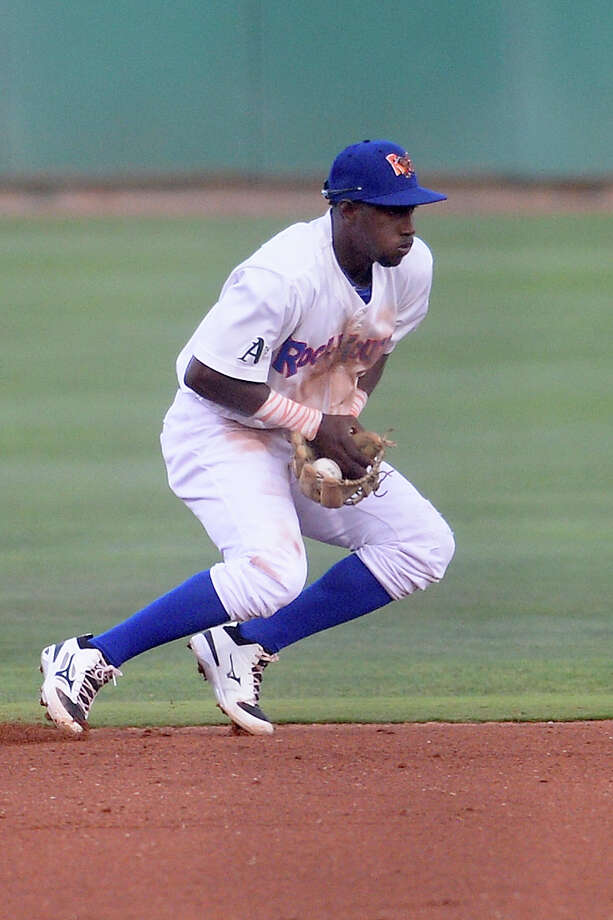 RockHounds shortstop Jorge Mateo stops a grounder from San Antonio on Aug. 30, 2017, at Security Bank Ballpark.  James Durbin/Reporter-Telegram Photo: James Durbin
