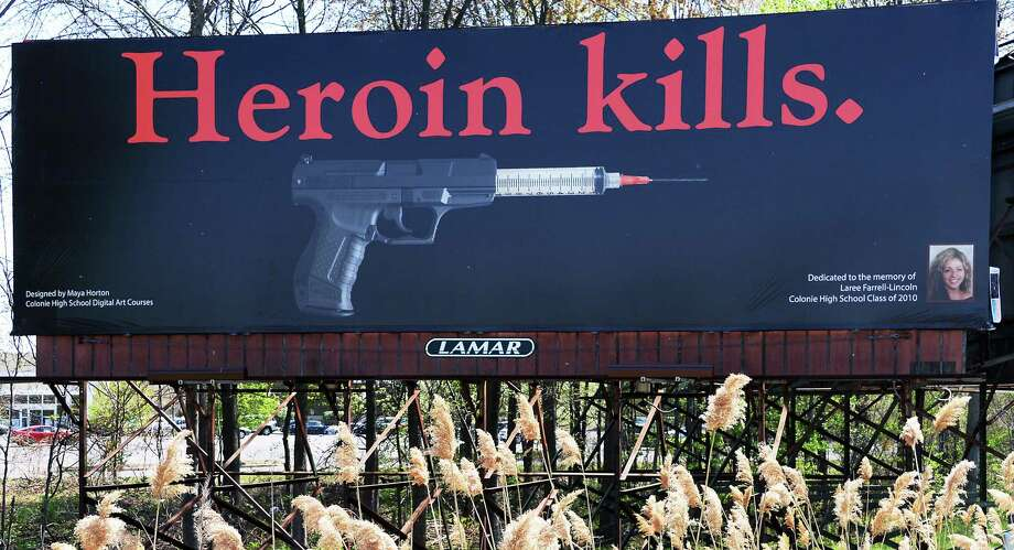Colonie Central High School's annual billboard project in 2015 was created in memory of Colonie graduate Laree Farrell-Lincoln who died of a heroin overdose in 2013. (John Carl D'Annibale / Times Union) Photo: John Carl D'Annibale / 00031757A