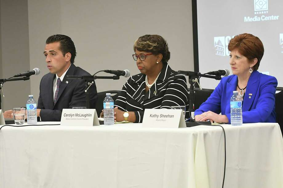 Councilman Frank Commisso Jr., left, Council President Carolyn McLaughlin, center, and incumbent Mayor Kathy Sheehan participate in Albany's Democratic mayoral candidate debate at the Hearst Media Center on Tuesday Aug. 29, 2017 in Colonie, N.Y. (Lori Van Buren / Times Union) Photo: Lori Van Buren / 20041381A