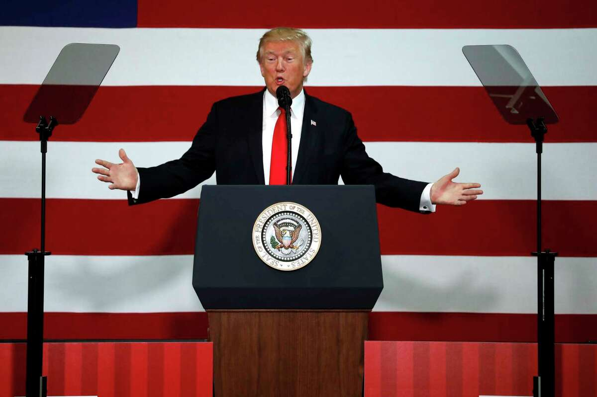 President Donald Trump speaks about tax reform, Wednesday, Aug. 30, 2017, at the Loren Cook Company in Springfield, Mo. (AP Photo/Jeff Roberson)
