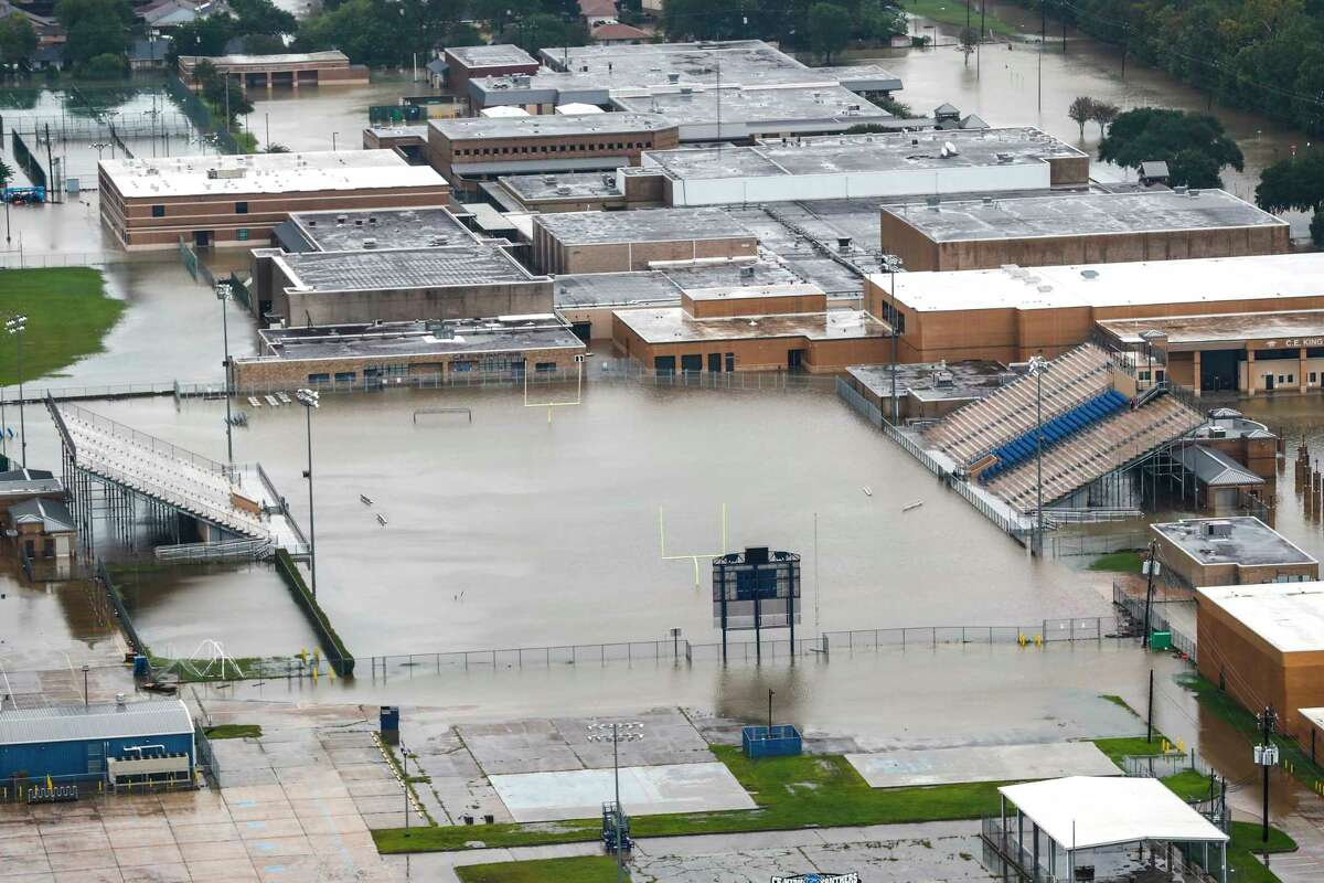 Four of the eight schools in Sheldon ISD - including C.E. King High School, shown here - were heavily damaged. The district will start school Sept. 18. >> See photos of the worst damage to Houston-area schools and clean up efforts.