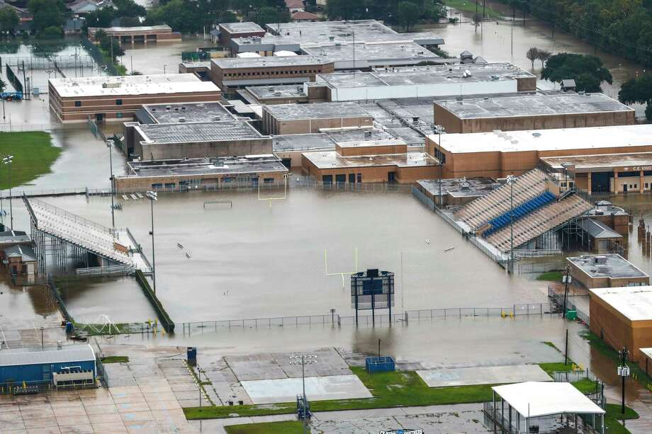 Four of the eight schools in Sheldon ISD - including C.E. King High School, shown here - were heavily damaged. The district will start school Sept. 18.>> See photos of the worst damage to Houston-area schools and clean up efforts. Photo: Brett Coomer, Staff / © 2017 Houston Chronicle