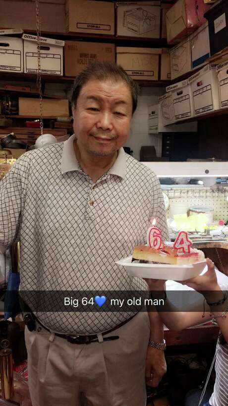 Alexander SungSung, 64, a Chinese immigrant who ran a business in South Houston for three decades, drowned Aug. 27, 2017 in his clock repair shop, Accu Tyme. He is pictured here in July 2017 during his last birthday celebration. Photo: Courtesy