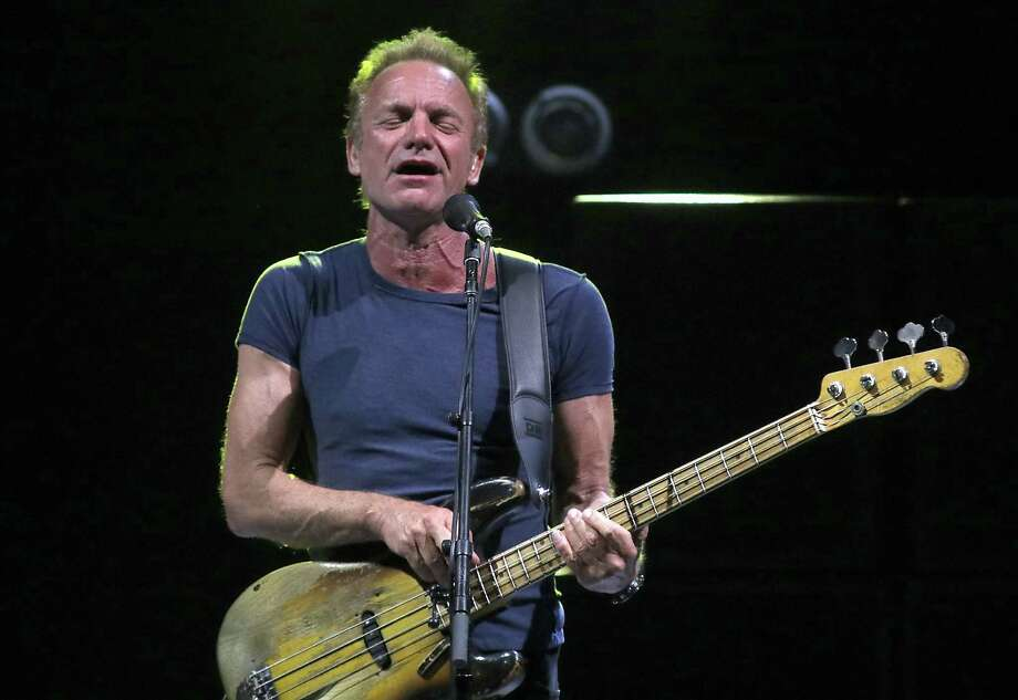 Sting performs with his band at Saratoga Performing Arts Center Wednesday. August 30, 2017. (Ed Burke photo-Special to The Times Union)