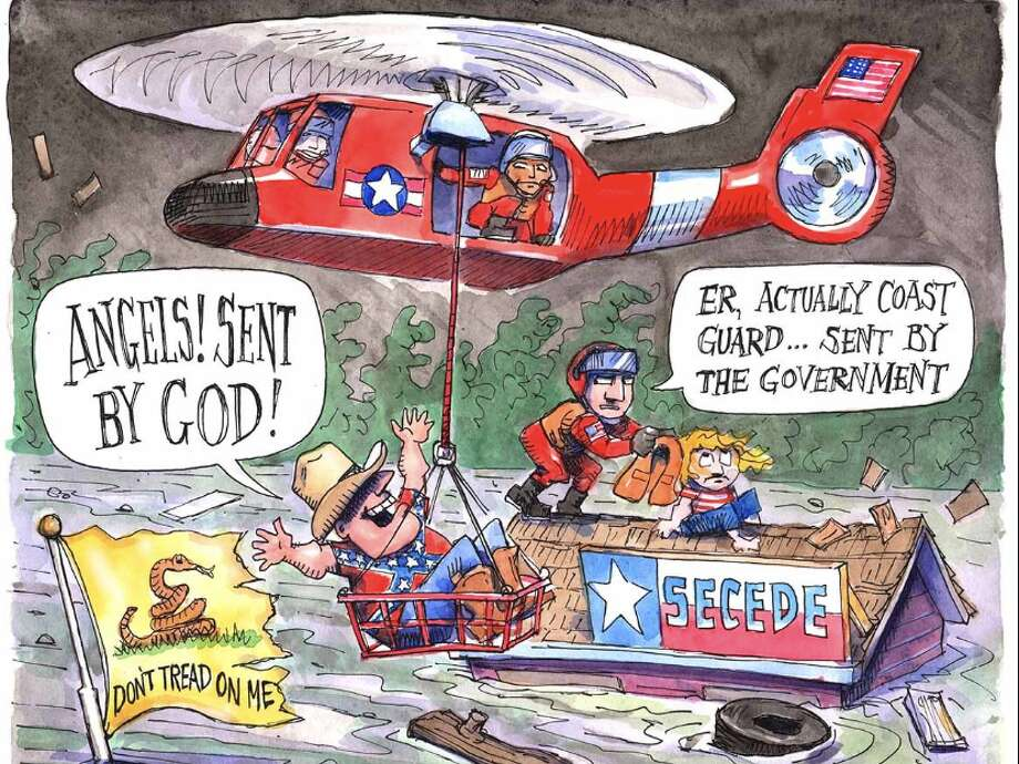 Politico deleted a tweet on Wednesday with a cartoon showing a victim of Hurricane Harvey being rescued by a federal emergency responder. (Politico via Business Insider) Photo: Politico Via Business Insider