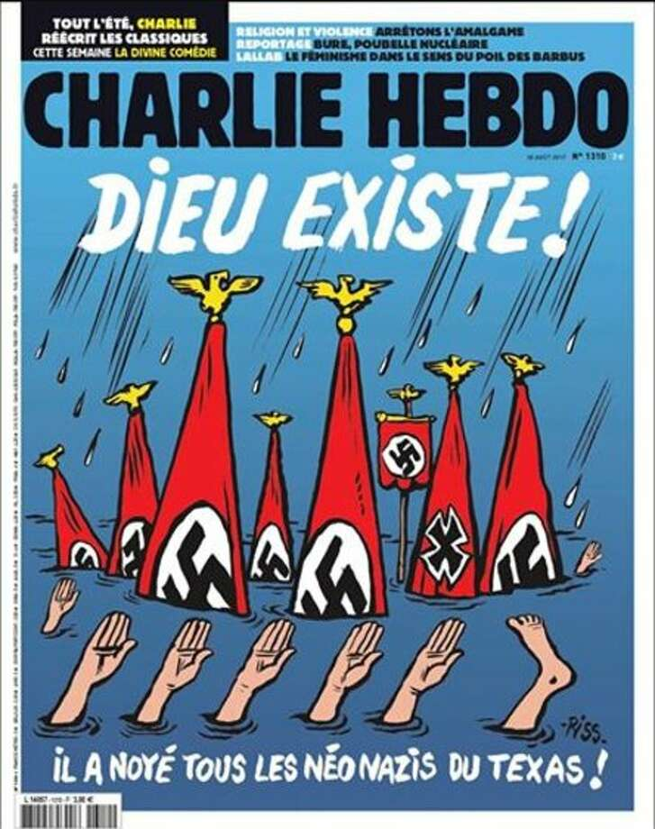 FILE- Thursday, satirical French magazine Charlie Hebdo drew strong condemnation for an illustrated cover that portrayed Hurricane Harvey victims in Texas as Nazis and racists. See how Twitter users reacted.