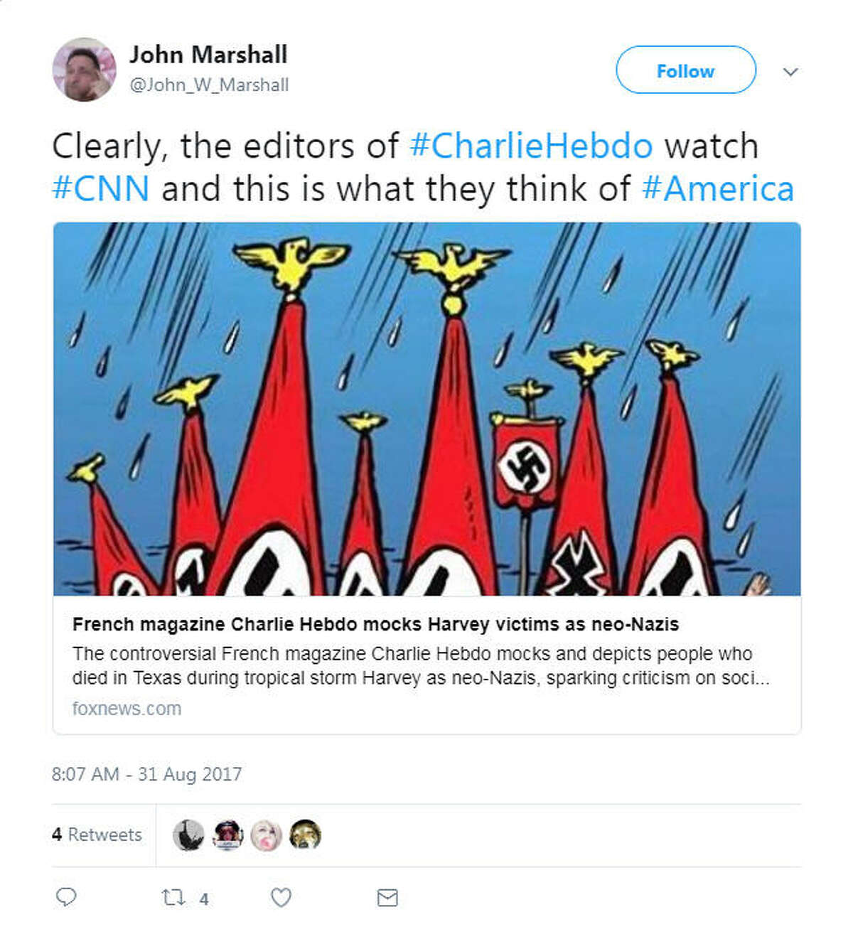 Thursday, satirical French magazine Charlie Hebdo drew strong condemnation for an illustrated cover that portrayed Hurricane Harvey victims in Texas as Nazis and racists.