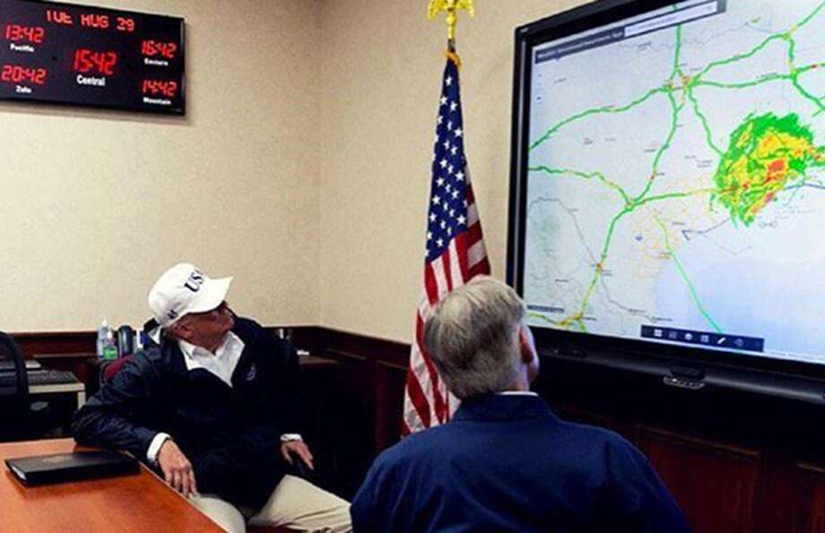 """Trump posted a photo of himself looking at a heat map of Hurricane Harvey along with the caption, """"After witnessing first hand the horror & devastation caused by Hurricane Harvey, my heart goes out even more so to the great people of Texas!"""""""