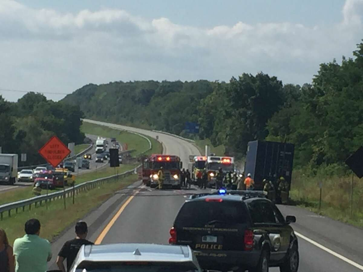 Traffic is backed up for miles early Thursday afternoon, Aug. 31, 2017, on the Thruway southbound near the Modena Service Area in Ulster County. A truck carrying trash for recycling caught fire, according to firefighters at the scene. (Gregory Dayton/Times Union)