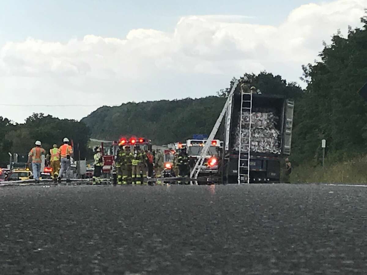 Traffic is backed up for miles early Thursday afternoon, Aug. 31, 2017, on the Thruway southbound near the Modena Service Area in Orange County. A truck carrying trash for recycling caught fire, according to firefighters at the scene. (Gregory Dayton/Times Union)