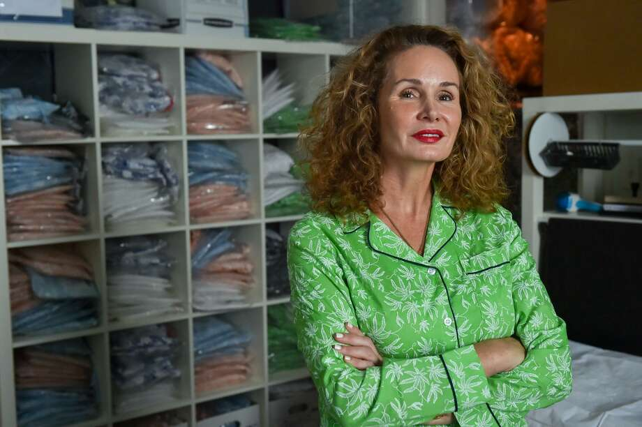 Sonya Dawson is a San Antonio designer of sleepwear and bedding that features subtle patterns of marijuana, pills, and images of the Kama Sutra. Photo: Robin Jerstad /For The Express-News / ROBERT JERSTAD