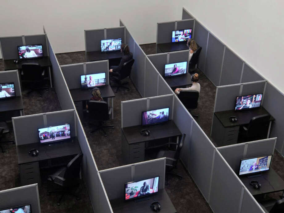 """Pictured is a view of Kader Attia, """"Reason's Oxymorons,"""" 2015. Installation of cubicles and 18 films, durations variable, 13 to 25 min. Courtesy of the artist and Lehmann Maupin, New York and Hong Kong.  Photo by Max Yawney. Photo: For The Edge"""