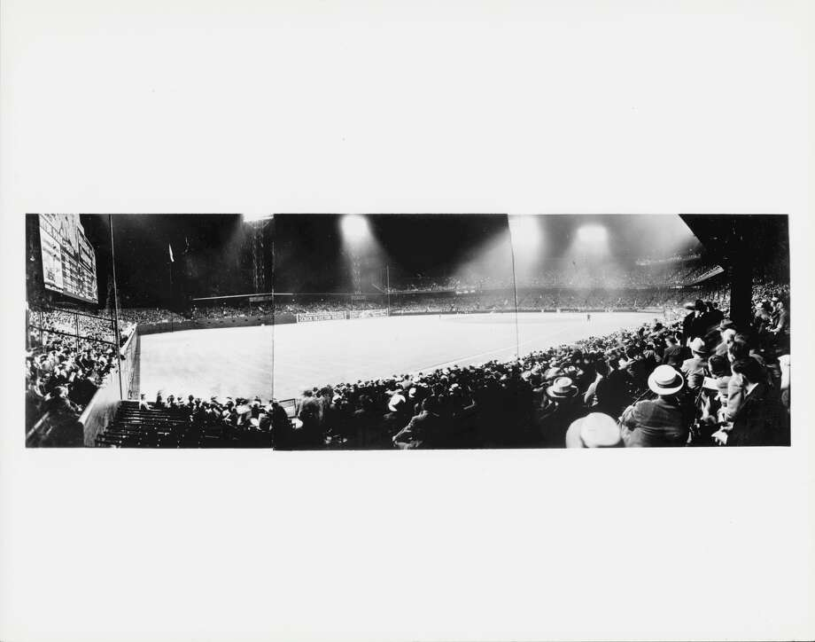 A panoramic night view of Sportsmans Park (pieced together from three photos). View from left field stands across to right field. First night game, June 12, 1940. St. Louis Browns losing to Cleveland. Photo: For The Edge