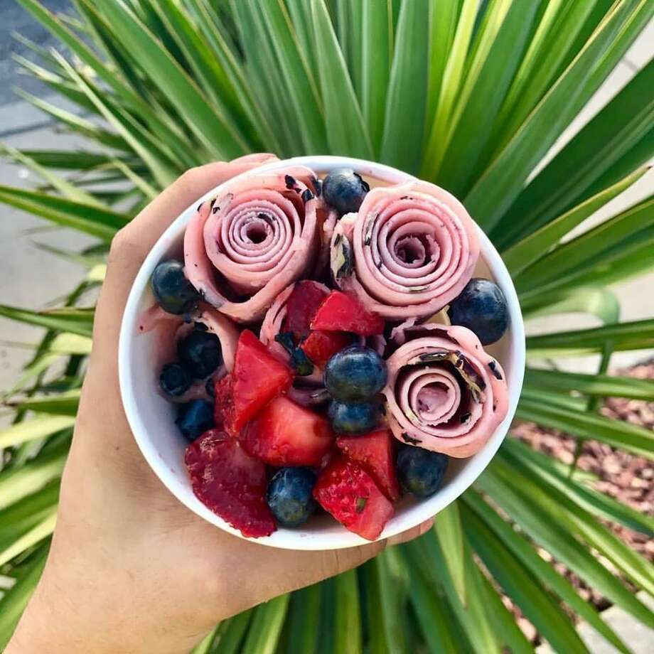Blueberry and strawberry Thai-style rolled ice cream from Fahrenheit 32. Photo: Courtesy Fahrenheit 32