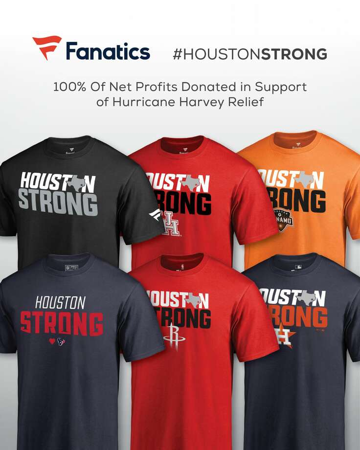 "FanaticsFanatics, the online retailer of licensed sportswear, sports equipment and merchandise, has launched a ""Houston Strong"" collection of T-shirts, with net profits from sales donated to Hurricane Harvey relief efforts. Photo: Fanatics"