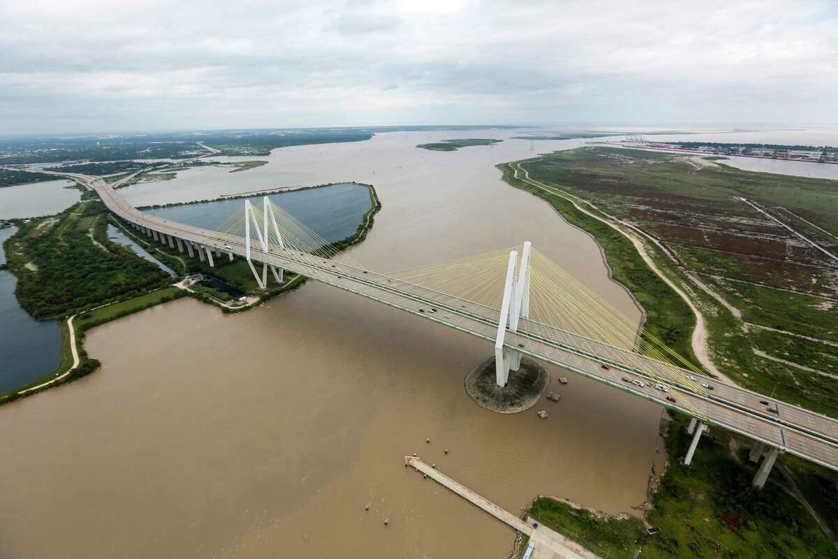 The Fred Hartman Bridge is shown in the aftermath of Tropical Storm Harvey.