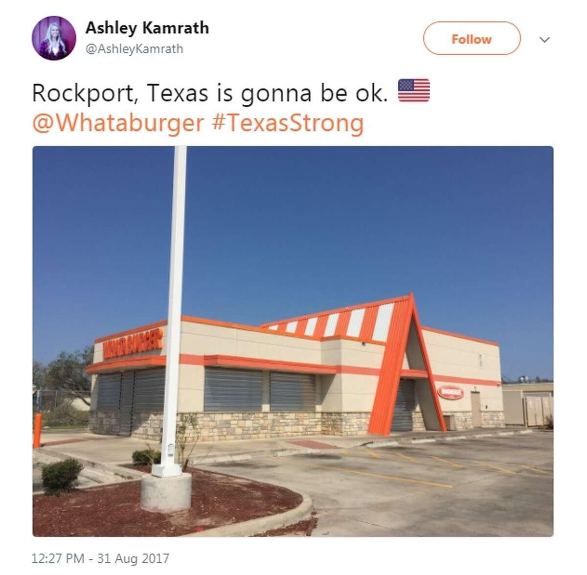 "@AshleyKamrath: ""Rockport, Texas is gonna be ok. @Whataburger #TexasStrong"""