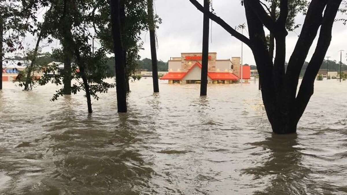 A Houston Whataburger, at 4545 Kingwood Dr., has been the subject of viral photos on social media that show the building submerged in water.