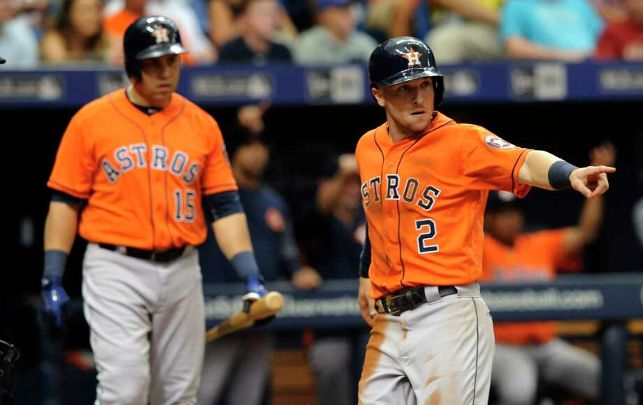 PHOTOS: Astros 5, Rangers 1Houston Astros Carlos Beltran, left, looks on as Alex Bregman (2) scores on Josh Reddick's RBI-single off Texas Rangers starter Nick Martinez during the fourth inning of a baseball game Thursday, Aug. 31, 2017, in St. Petersburg, Fla. (AP Photo/Steve Nesius)Browse through the photos to see action from the Astros' win on Thursday. Photo: Steve Nesius, Associated Press / FR69810 AP