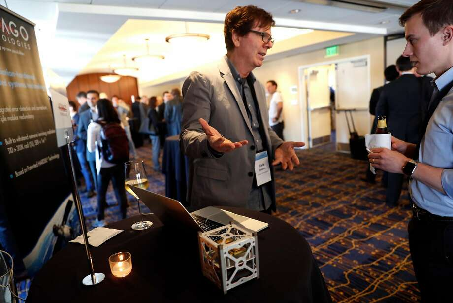 Vorago Technologies' Clark Senders discusses the company's cube satellite during the Space Technology & Investment Forum Startup Showcase in San Francisco on August 30, 2017. Photo: Scott Strazzante, The Chronicle