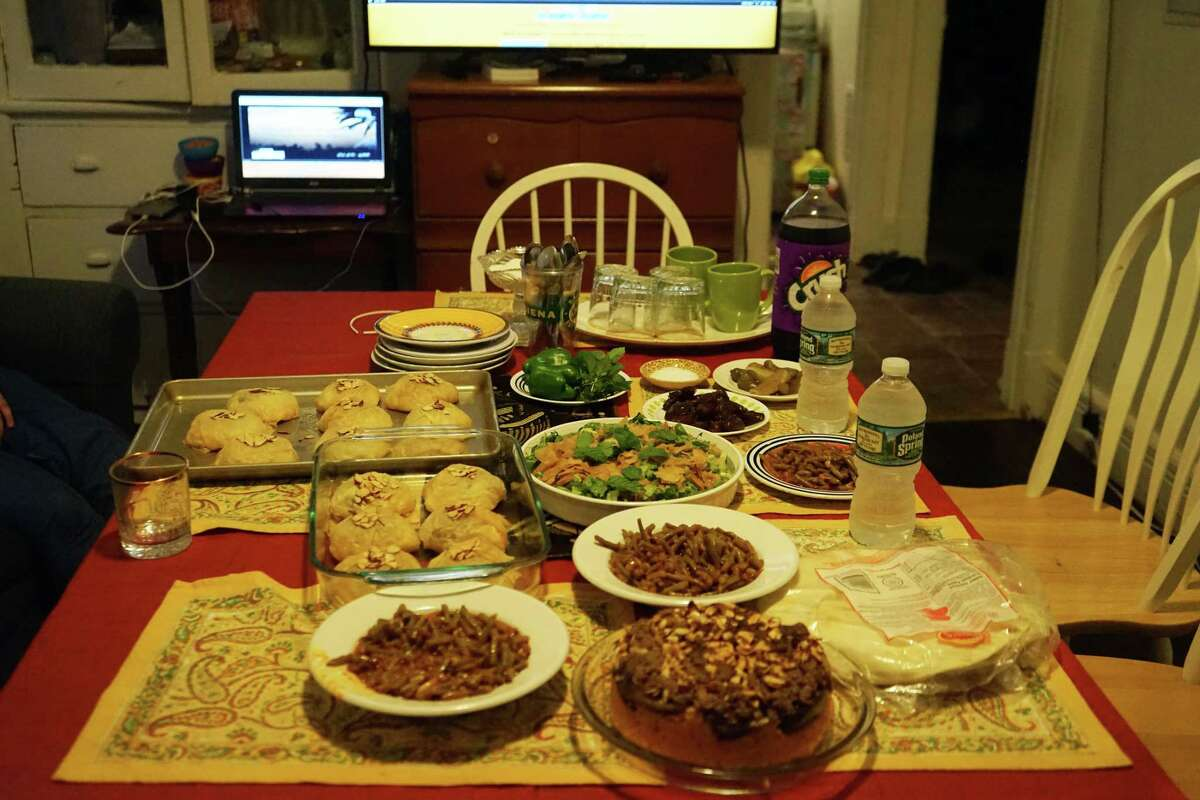 Rana Sabeih and her mother, Raida Aldabas, prepared traditional Syrian dishes to break their fast at their Albany apartment on August 30, 2017.