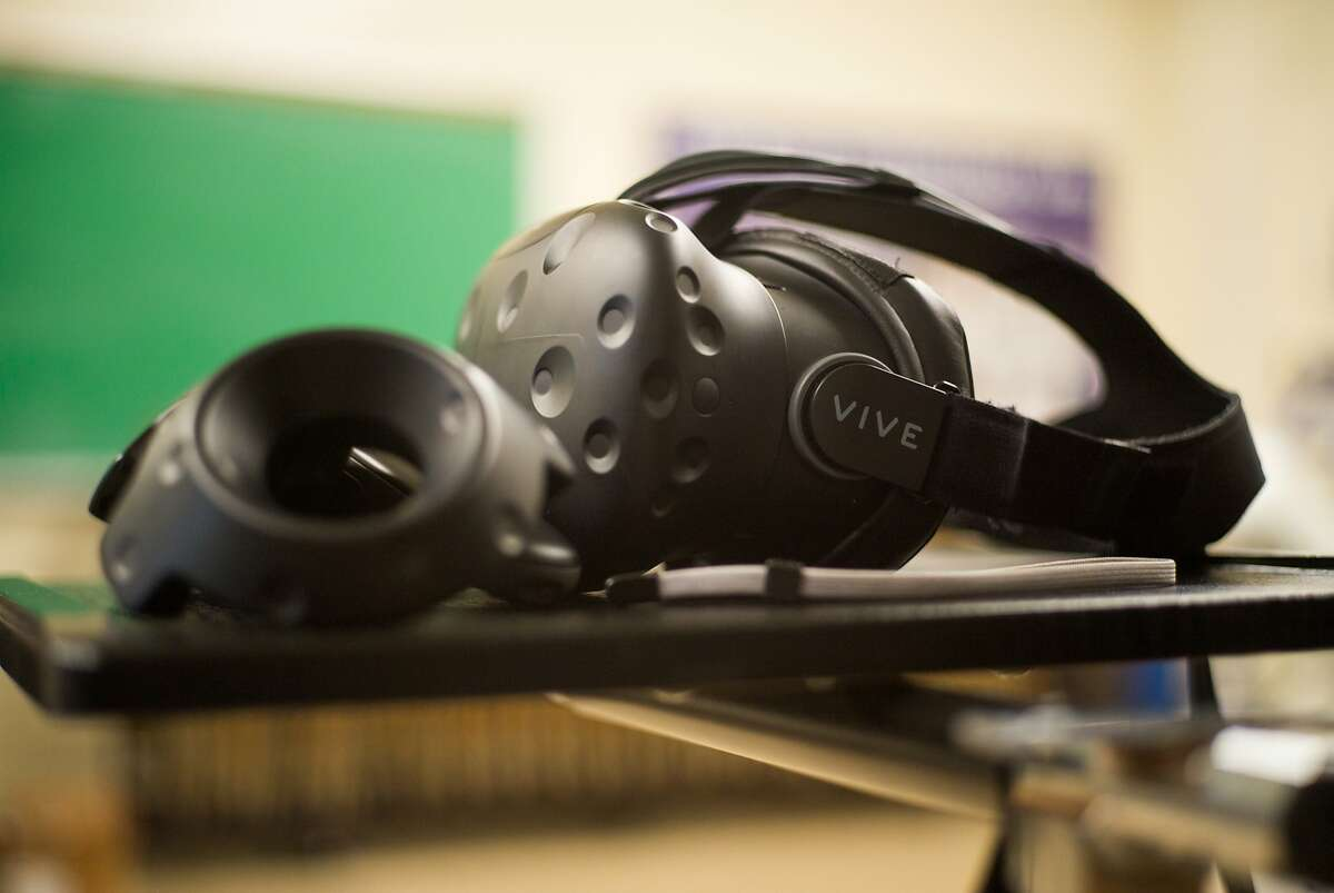 A Vive virtual reality headset is seen at San Francisco State University on Monday, Aug. 21, 2017. Researchers at the university are studying how effective exercising using virtual reality can be.