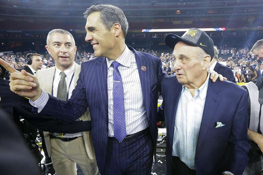 Villanova head coach Jay Wright and former head coach Rollie Massimino celebrate after the Wildcats won the title in 2016. Photo: Brett Coomer, Houston Chronicle