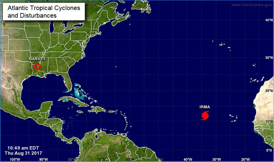 Irma has formed into a Category 2 hurricane in the Atlantic Ocean, the National Hurricane Center said Thursday. Less than a week ago, Hurricane Harvey made landfall in Texas and wreaked havoc on the Lone Star State. Keep clicking to see photos of Harvey's destruction. Photo: National Hurricane Center