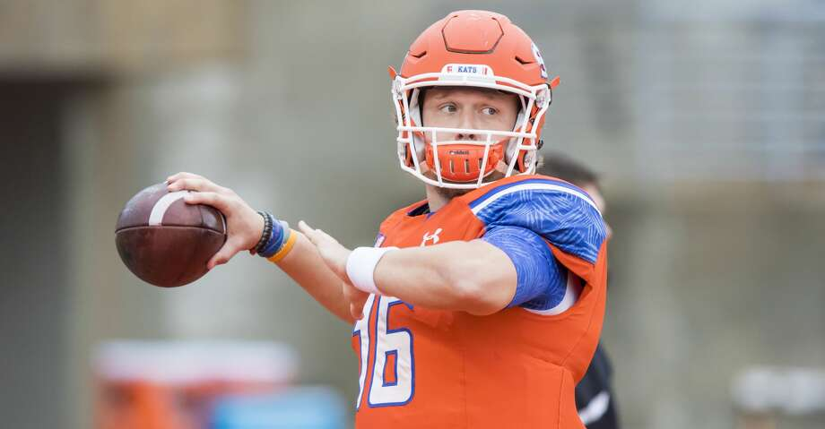 Senior SHSU quarterback Jeremiah Briscoe won the Walter Payton Award last season as the top offensive player in FCS, becoming the first Bearkat to do so. Photo: Joe Buvid/For The Houston Chronicle