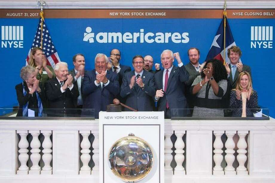 Americares CEO Michael Nyenhuis rings the closing bell of the New York Stock Exchange on Thursday, August 31, to bring attention to Hurricane Harvey relief efforts. (Photo courtesy Americares) Photo: /