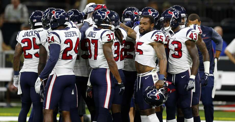PHOTOS: Projecting the Texans' 53-man rosterHouston Texans huddle before a preseason NFL football game against the New Orleans Saints in New Orleans, Saturday, Aug. 26, 2017. (AP Photo/Butch Dill)Browse through the photos to see a projected roster for the Texans' upcoming season. Photo: Butch Dill/Associated Press
