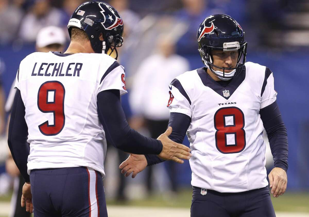 Houston Texans holder Shane Lechler (9) and kicker Nick Novak (8) slap hands after Novak kicked a 24-yard field goal against the Indianapolis Colts during the third quarter of an NFL football game at Lucas Oil Stadium on Sunday, Dec. 11, 2016, in Indianapolis. ( Brett Coomer / Houston Chronicle )