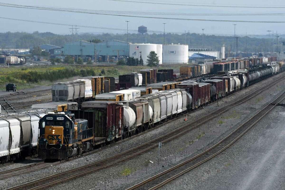 Rail freight is moved through the Selkirk CSX railyard near Feura Bush Road on Thursday, Aug. 31, 2017, in Feura Bush, N.Y. (Will Waldron/Times Union)