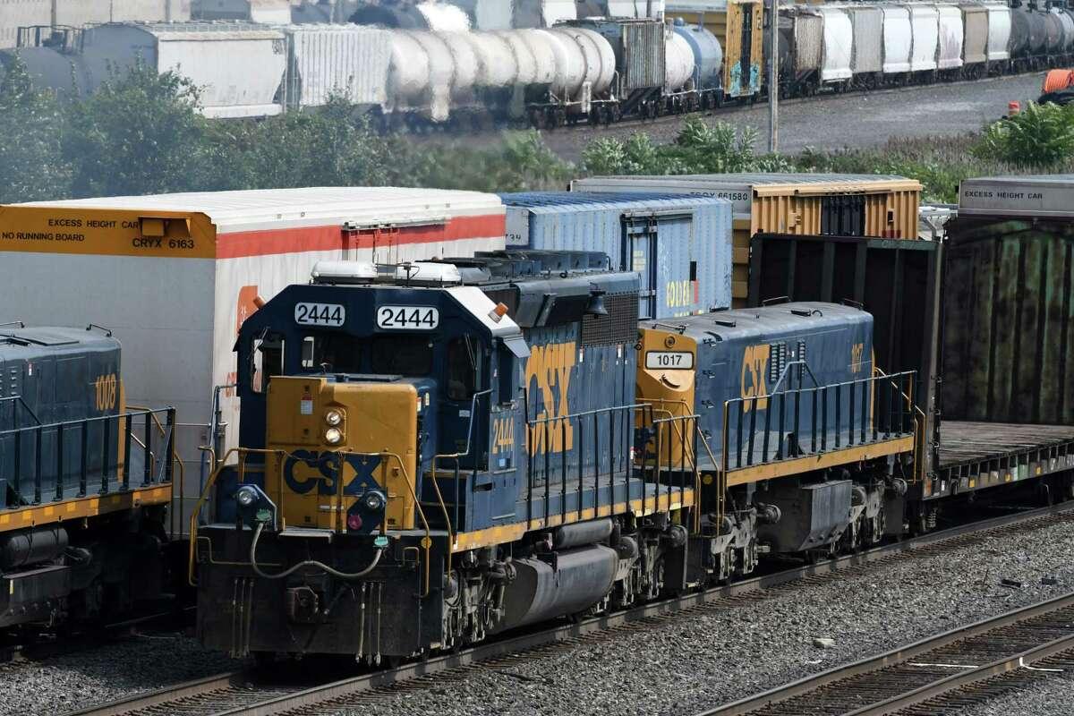 A CSX train reverses its load of freight through the Selkirk CSX railyard near Feura Bush Road on Thursday, Aug. 31, 2017, in Feura Bush, N.Y. (Will Waldron/Times Union)