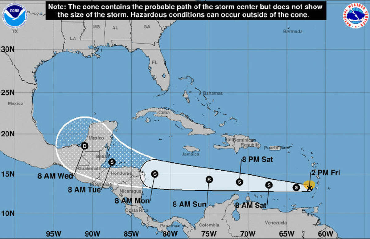 """Friday, Aug. 18, 2017 On Friday, Aug. 18, the National Weather Service sent out a notice about Tropical Storm Harvey, a small system just west of the Lesser Antilles. At the time, the system was set to track westward across the Caribbean Sea and into Central America. The release stated: """"Storm poses no immediate threat to Southeast Texas but will need to be monitored the next several days."""""""