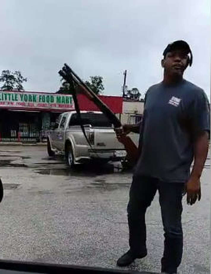 Nash John of Houston has become viral after a Facebook video showed him fighting off would-be looters from a Little York Food Mart in North Harris County with a shotgun on Aug. 8, 2017. See more images of rescues in East Texas during Hurricane Harvey.  Photo: Tay Mayberry