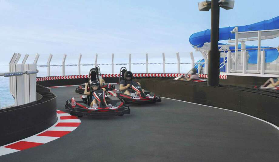 The race track on the 18th deck of the Norwegian Bliss gives the ship's passengers a chance to satisfy their need for speed. Photo: Norwegian Cruise Line /TNS / Miami Herald