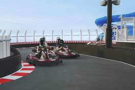 The race track on the 18th deck of the Norwegian Bliss gives the ship's passengers a chance to satisfy their need for speed.