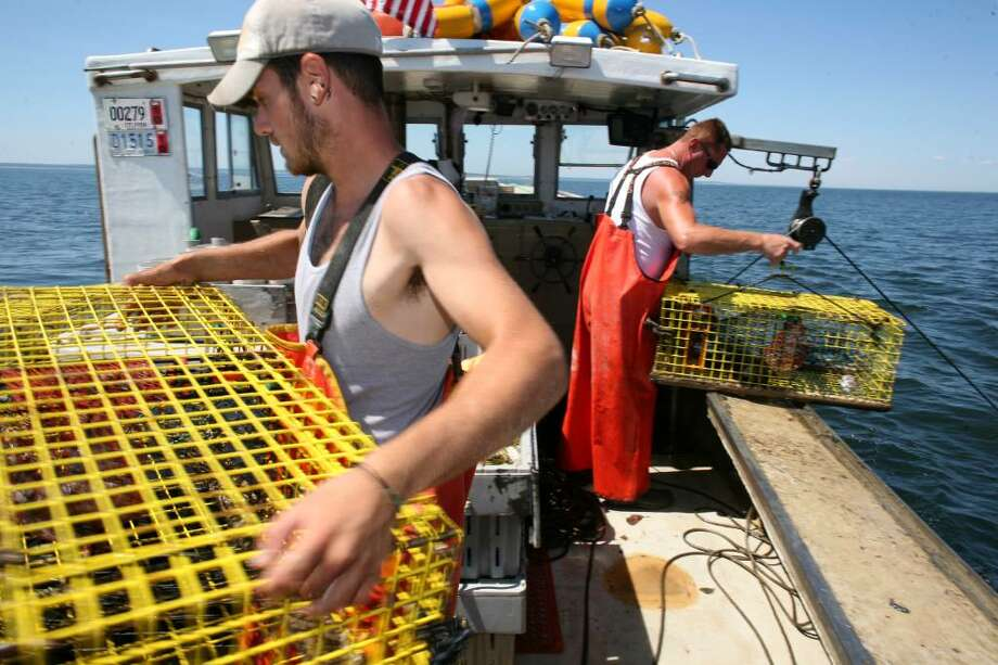 Dark Horse deck hand Brian Eberts left, and Captain Michael Kalaman spend Monday morning fishing Long Island Sound for lobsters which may come under a fishing ban that would reach from Cape Cod to Delaware. Photo: David Ames / Stamford Advocate